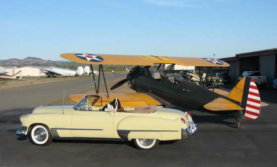 Caddy and biplane